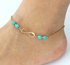 Turquoise Stone Infinity Anklet