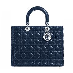 "The timeless and unique ""Lady Dior"" bag is a work of art imbued with Dior Couture spirit. Size: 32 x 25 x 11 cm - This meticulously hand-crafted midnight-blue quilted lambskin Dior bag is enhanced by Dior signature 'Cannage' stitching - ""D.i.o.r"" letters in silver-tone metal. - 1 zipped pocket"