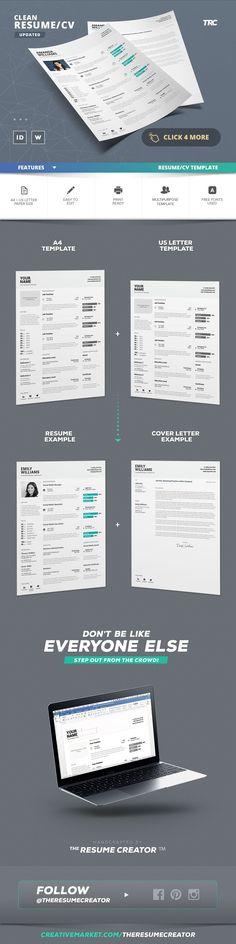 2-PAGE MODERN RESUME TEMPLATE FOR MICROSOFT WORD AND APPLE PAGES - apple resume template