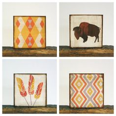 Southwestern Wall Decor l Nursery Art Block l Brown Buffalo 5x5 wood block redtilestudio