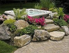 rock stairs hot tub