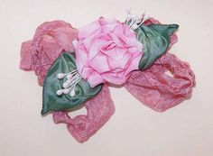 Vintage French Craft/French Ribbonwork/Ribbon Rose/Applique/Embellishment/Pinks! #Unbranded