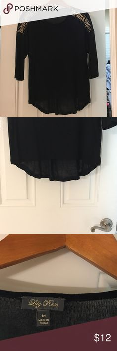 Lily rose black loose shirt Thin black loose fitting shirt, with metal pieces along shoulder Lily Rose Tops Blouses