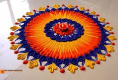 Creative rangoli designs Perfect For Sprucing Diwali Rangoli designs 2019 are about incorporating flowers in them. Flower wedding rangolis have gained much popularity this wedding season. Rangoli Designs Simple Diwali, Rangoli Designs Latest, Rangoli Designs Flower, Free Hand Rangoli Design, Rangoli Border Designs, Small Rangoli Design, Rangoli Patterns, Rangoli Ideas, Rangoli Designs With Dots