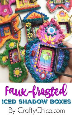 Faux-Frosted Iced Shadow Boxes - The Crafty Chica Crafts To Make, Fun Crafts, Crafts For Kids, Heritage Crafts, Craft Box, Craft Ideas, Puffy Paint, Plate Crafts, Arte Popular