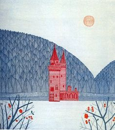 Keiko Minami, red castle (etching) a little bit oriental, a little bit western. Illustrators, Art Design, Illustrations Posters, Sketch Book, Canvas Prints, Illustration Art, Landscape Illustration, Art Journal, Prints