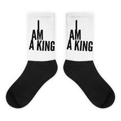 I Am A King Black foot socks