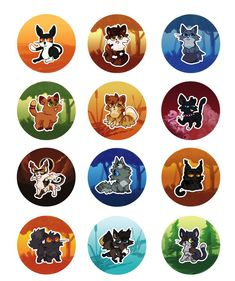 warrior kitty buttons 3 by Nifty-senpai on DeviantArt Tallstar, Spottedleaf, Bluestar, Firestar, Mothwing, Scourge, Sol, Ashfur, Darkstripe, Yellowfang, Hawkfrost, and Tawnypelt