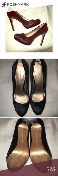 SALE- 1 HOUR BCBGeneration Heels Used these shoes for 7 sorority prefs!!! Used but great condition! Price is negotiable! The heels are a little intended as seen in the picture. But you cant notice from a far ! That is why price is low! COLOR: black with fur! BCBGeneration Shoes Heels