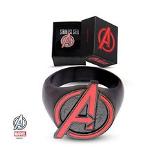 Mens Stainless Steel Black IP With Red Avengers Logo Ring Jewelry Box Included 11 Size >>> Read more  at the image link.