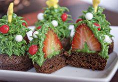 Strawberry Christmas Tree Brownie Bites Tutorial by Erica