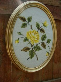 "Neşe'nin gözdeleri ""Vintage Oval Framed Needlepoint PIcture with Yellow Rose via Etsy."""