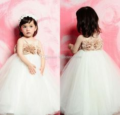 Wholesale Flower Girls' Dresses - Buy Princess Ball Gown Jewel Flowers Empire Floor Length Puffy Tulle Tutu Junior Bridesmaid Gown 2014 Kids Wedding Flower Girl Dresses DL1311335, $41.89 | DHgate