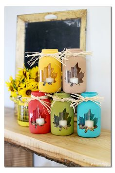 fall mason jar craft idea - such a cute decor or gift idea - - Sugar Bee Crafts
