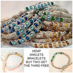 Hemp Beaded Bracelet or Anklet Summertime by SunberryCreations