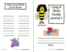 Phonics: Word Family Journals--Long Vowels (A & E) Phonics journals your students can use in class.  Each Word Family Journal includes the rime to be studied, primary writing lines for words, and a space for drawing pictures. #phonics #teacherspayteachers #chalkspotcom