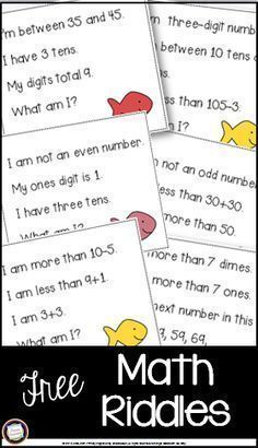 Challenge your first and second grade math students with this FREE set of one dozen riddle cards for the numbers This new set addresses early addition and subtraction, comparing numbers, place value, and basic coin knowledge, and is great as a supp Maths Guidés, Math Vocabulary, Math Classroom, Fun Math, Teaching Math, Math Activities, Teaching Time, Maths Riddles, Number Riddles