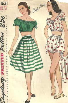Simplicity 1621 Vintage 40s Sewing Pattern Swimsuit Playsuit Size 14. Another fun playsuit.