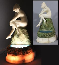 Antique Hand Carved Alabaster, Art Deco Nude & Pool of Water Electric Lamp, NR #ArtDeco