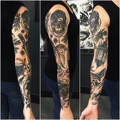 41 Ideas tattoo traditional sleeve men style for 2019 Traditional Sleeve, Traditional Style Tattoo, Trendy Tattoos, Black Tattoos, Tattoos For Guys, Tattoos For Women, Ink Tatoo, Arm Tattoo, Neue Tattoos