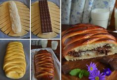 Bounty bread Note: replace bar with chips Nutella, Bread And Pastries, Grilled Chicken Recipes, Homemade Cakes, Snack, Hot Dog Buns, Pesto, Sweet Recipes, Fudge