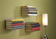 Floating bookshelves, I'd love to do it, but I can't find the right brackets