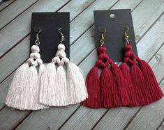 Items similar to Modern macrame earring Burgundy fringe earring Beige long silk tassel Wine red silk thread Statement earring Boho jewelry Birthday Gift on Etsy - new season bijouterie Diy Tassel Earrings, Silk Thread Earrings, Macrame Jewelry, Fabric Jewelry, Fringe Earrings, Beaded Earrings, Boho Jewelry, Jewelry Crafts, Statement Earrings