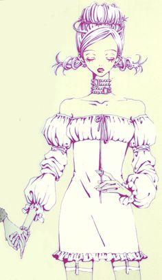 "Nana ""Hachi"" Komatsu wearing short peasant dress with long off the shoulder sleeves from ""Nana"" series by manga artist Ai Yazawa."
