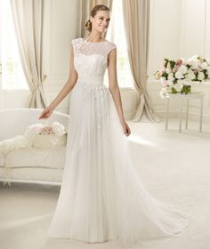 Charming Ball Gown Bateau Ruching Hand Made Flowers Sweep/Brush Train Tulle Wedding Dresses : Wedding Dresses, Bridesmaid Dresses, Gowns Online Shop, | Aisle Style UK