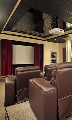 Stadium seating home theater with classical interior design (picture)