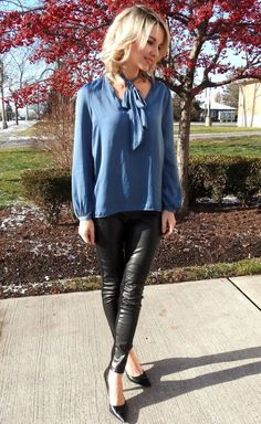 Winter party ready, pleather pants, pretty blue blouse and black pumps!