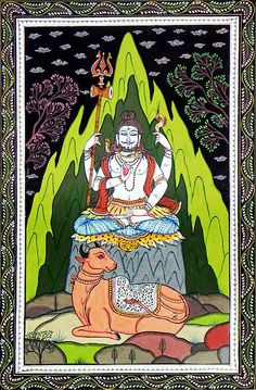 Shiva Meditating at Kailash Parvat and Nandi Sitting in Front of Him (Orissa Paata Painting on Canvas - Unframed))