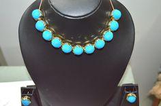 Elegant Neckline with Stud Earings - Blue