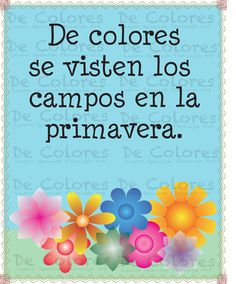 "Resources for Teaching Spanish to Children - De Colores ""Los Campos"" - Printable Spanish Language Children Wall Art PDF based on the lyrics of the traditional song De Colores. #spanish #pdf #children #printable #kids #Playground #preschool #kindergarden"