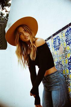 Lemon Grove Blues | Rocky Barnes. Fashion, crop off the shoulder black long sleeve top, denim jeans