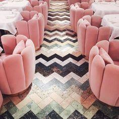herringbone chevron tile & pink velvet petal chairs