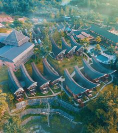 A beautiful aerial view of Toraja Heritage Hotel in South Sulawesi, Photo by: IG Heritage Hotel, Tropical Architecture, Photo Reference, Aerial View, Southeast Asia, Places Ive Been, Places To Visit, Traveling, Wattpad
