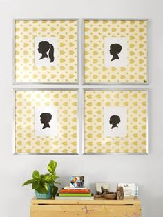 Mat Artwork with Wallpaper -  Disassemble some of your frames at home and wrap the mats with a special wallpaper, like this example from HGTV. | Apartment Therapy Main | Bloglovin'