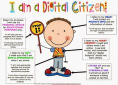 Educational Technology and Mobile Learning: Classroom Posters and Resources for Teaching Students about Digital Citizenship Technology Lessons, Teaching Technology, Digital Technology, Educational Technology, Instructional Technology, Teaching Computers, Technology Support, Digital Citizenship Posters, Citizenship Education