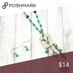 """'Longhorn' Western Necklace and Earrings Set Add western flair with this necklace set!  18"""" Long with 3"""" Extension Burnished?Silvertone Faux Turquoise Beads and Faux Matte Silver?Pearls 3.25"""" Pendant with Dangling?Horn, Star, and Feather Charms .5"""" Fish Hook Style Earrings with .25"""" Drop Lead Compliant Hypoallergenic Posts Buckle Jewelry"""