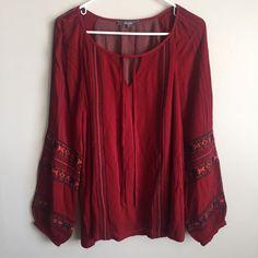 Miss Me Red Floral Boho Hippie Peasant Blouse Tunic Top Shirt Size Medium  | eBay