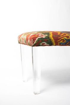 Custom bench with faceted acrylic legs upholstered in linen and raw silk. Acrylic Bench, Lucite Furniture, Ikat, Diy Projects, Collection, Home Decor, Decoration Home, Room Decor, Handyman Projects