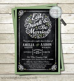 Eat Drink and Be Married Chalkboard Couples by DelightInvite #vintagebridalshower, #bridalshowerinvitations, #bridalshower, #bridalinvitations, #vintagebride, #eatdrinkbemarried, #chalkboardbridalshower