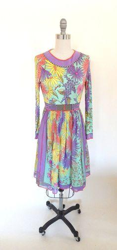 Vintage 1960s Averardo Bessi Silk Jersey Floral Dress  Sz S-M - Pucci Inspired