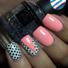 pink polka dot tape mani by noemihk