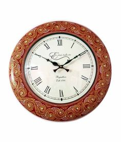Ethnic India Art Floral Design Wall Clock - 12 Inches