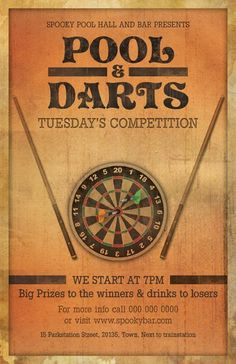 """Pool and darts Night Flyer Template is suitable for bar and pub! It has the vintage/retro look that will fit to any situation and place and is very much in fashion!  1 PSD files – 5.5""""x8.5"""" with 0.25"""" bleeds  2 Color Variations  Clearly labeled folders and layers  CMYK – 300dpi - Ready to print with guides"""