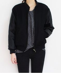 i loooove this jacket! Edgy, fits into that street style trend that I love, black, and it looks so comfy.