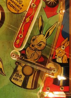 Magicians rabbit in a hat. Artwork detail from Hocus Pocus machine