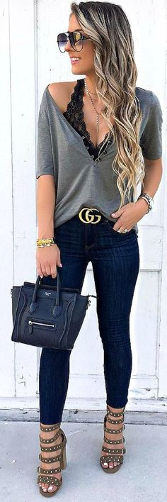 #fall #outfits black deep-neck 3/4 sleeve shirt and blue jeans